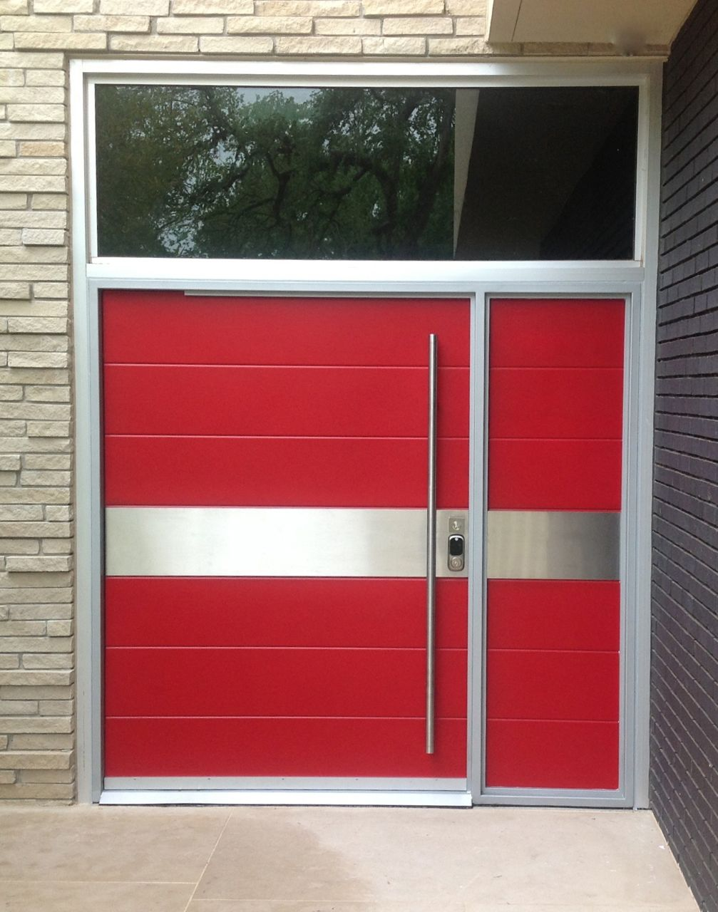 Stainless Steel Entry Doors : Red and stainless steel pivot door portella