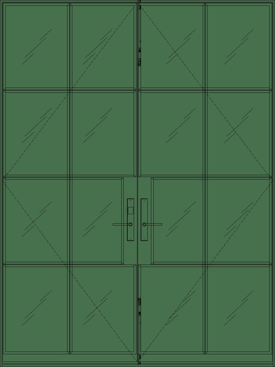 Diagram of Portella Double Door Out-Swing French Door