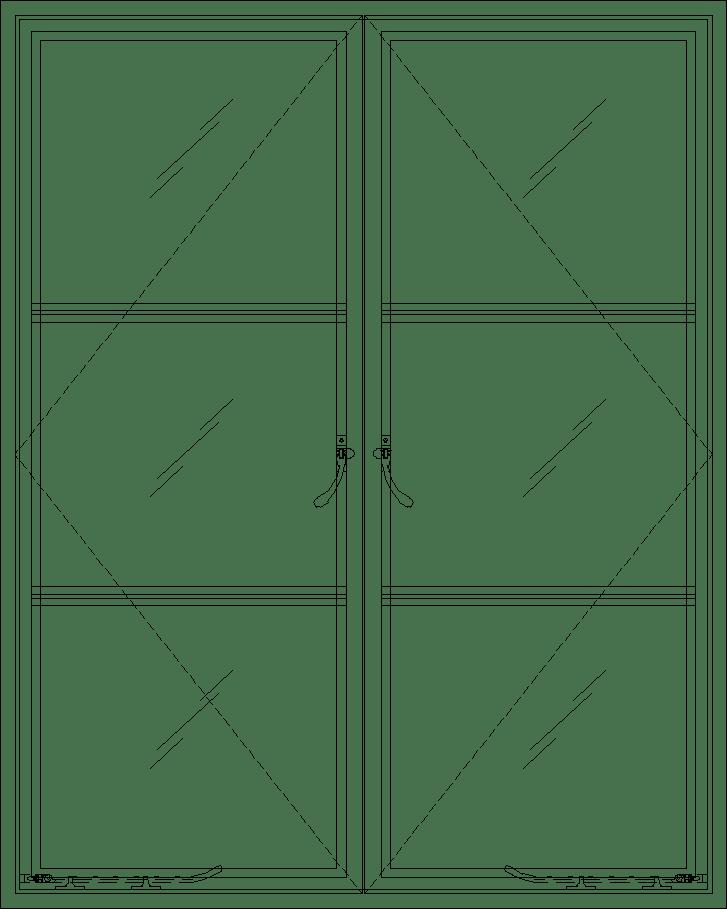 Diagram of Portella Thermally Broken Out-Swing Double Casement Window