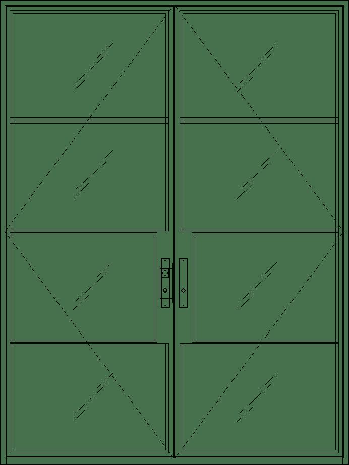 Diagram of Portella Double Door Out-Swing