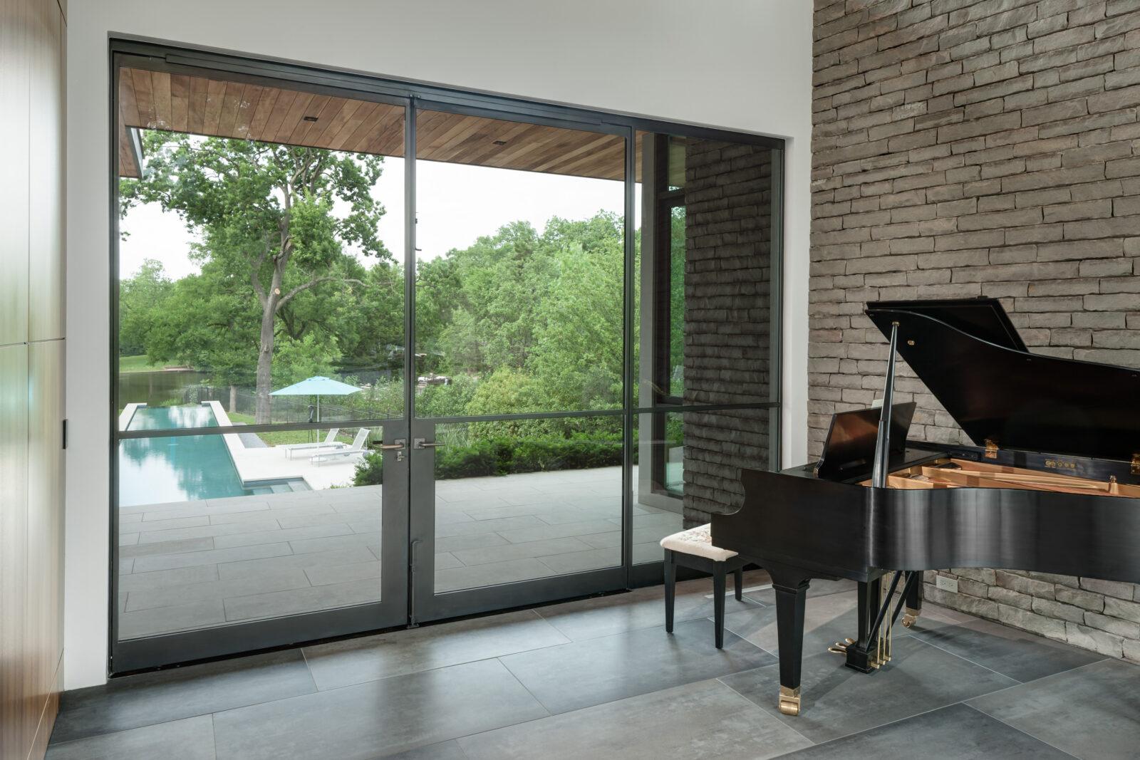 Carbon Steel Pivot Door installed in a home