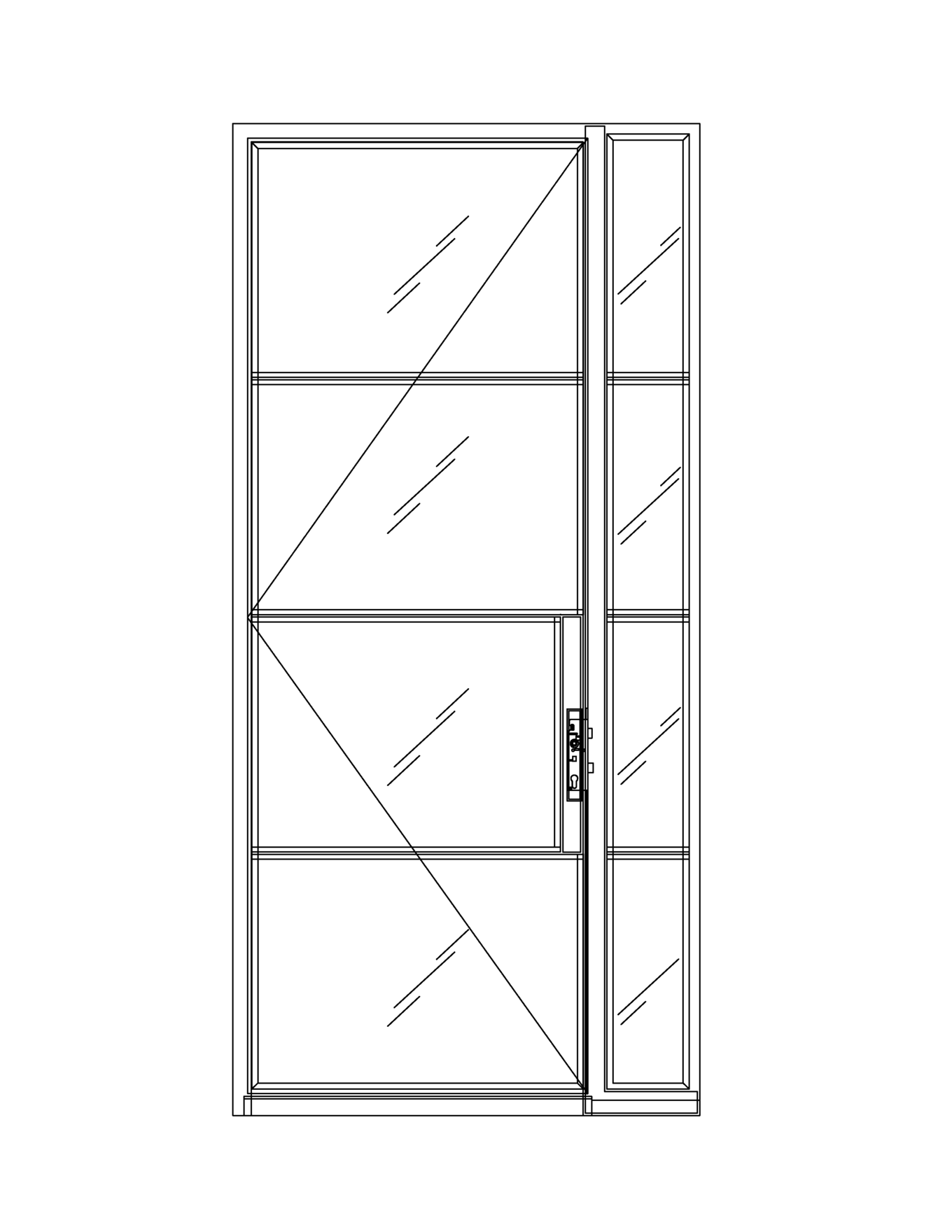 Diagram of Portella Thermally Broken Single Door with Sidelite In-Swing