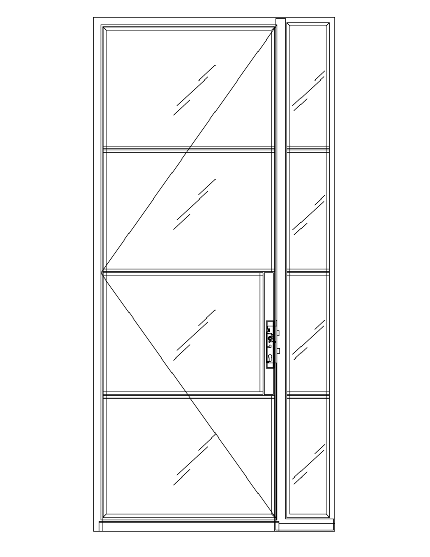 Diagram of Portella Thermally Broken Single Door with Sidelite Out-Swing