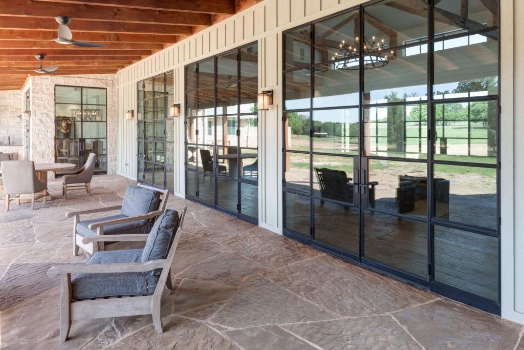 open-spaced steel windows